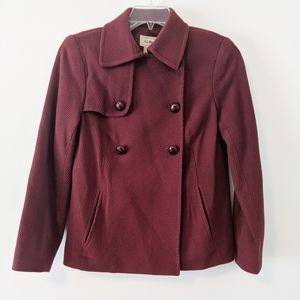 L.L. Bean Burgundy Red Wool Classic Pea Coat